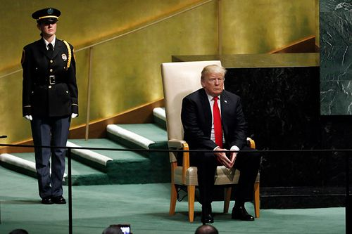 A guard stands by as US President Donald Trump awaits being called on stage to address the UN General Assembly in New York.