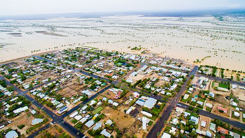 The town of Winton, isolated by floodwaters.