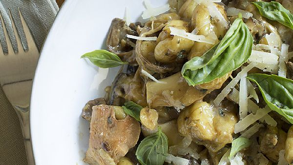 Mushroom and hazelnut gnocchi with manchego and basil