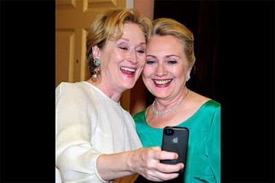 Even one of the world's most successful actresses isn't immune to a moment of fan-girling in front of her idol. Meryl Streep made sure to grab this hilarious selfie with the former Secretary of State, Hilary Clinton, when they bumped into one another at the Kennedy Centre Honours Gala in 2012.<br/><br/>Image: Getty