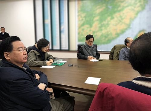President of Taiwan Tsai Ingwen (third from left)) holding an emergency meeting in Taipei on the earthquake. (AAP)