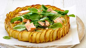 Crispy potato, salmon and herb quiche