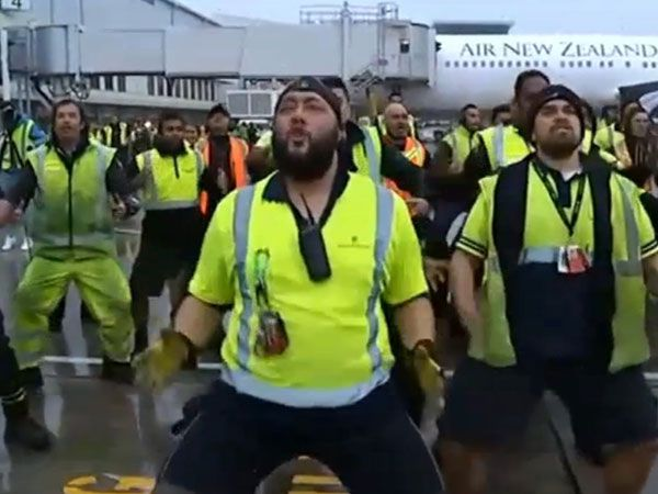 All Blacks welcomed home with airport tarmac haka