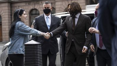 Actor Johnny Depp arrives at the Royal Courts of Justice, Strand on July 15, 2020 in London, England