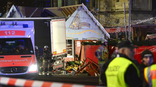 Police are at the scene of the Berlin crash. (AAP)