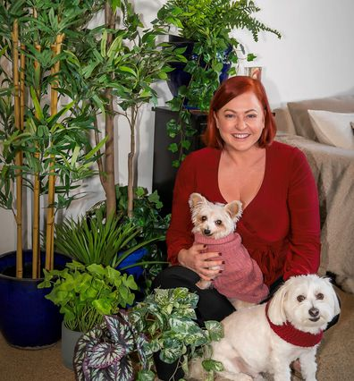 Shelly Horton with her plastic house plants.