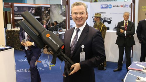 The device has become so popular, even Federal MP Christopher Pyne managed to examine one when it was chosen as a security measure for the Games. Picture: DroneShield.