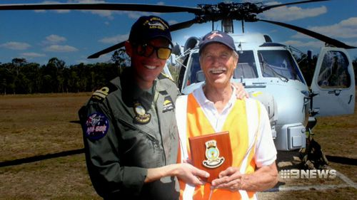 Incredibly, pilot Hugh Dickenson, 68, managed to crawl out of the crumbled plane wreck. (9News)
