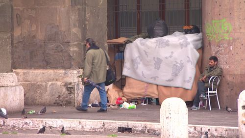 Some of the city's rough sleepers use the walls as shelter. Picture: 9NEWS
