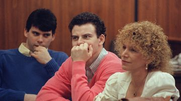Erik Menendez and brother Lyle attend court on August 12, 1991 in Beverly Hills. (AFP)