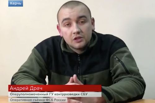 One of the three men, Andriy Drach, shown on the televised broadcast on Russian state media.