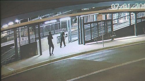 CCTV footage shows the employees walking to the police station. (9NEWS)