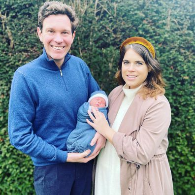 Jack Brooksbank and Princess Eugenie with their son August Philip Hawke Brooksbank