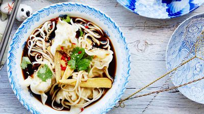 "Recipe: <a href=""http://kitchen.nine.com.au/2017/03/10/14/45/prawn-and-chicken-wonton-soup"" target=""_top"">Prawn and chicken wonton soup</a>"