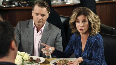 John Schneider and Nancy Travis as Richard Watson and Mary Wagner