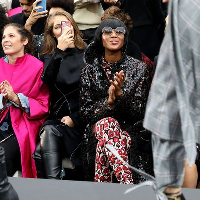 Supermodel Naomi Campbell had a front row seat for the show, and stood to offer Jane Fonda a kiss during her walk.