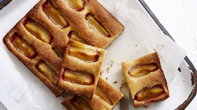Plum and almond slice