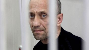 Former police officer Mikhail Popkov during a verdict announcement at the Irkutsk Regional Court Siberia, Russia.