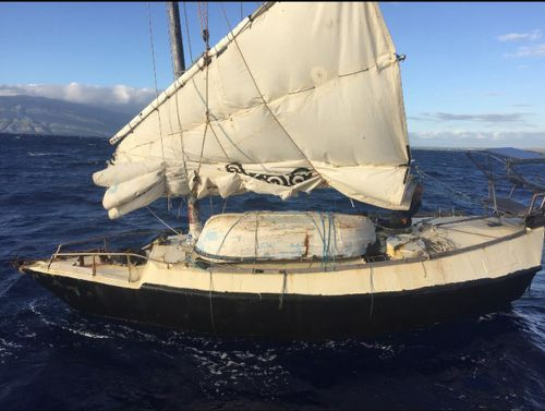The sails were in poor condition after more than 100 days at sea.