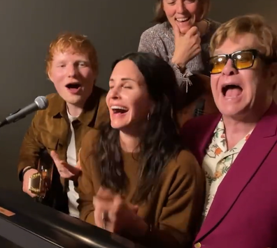 Courteney Cox Ed Sheeran, Elton John and Brandi Carlile for 'Tony Danza' Tribute to Lisa Kudrow