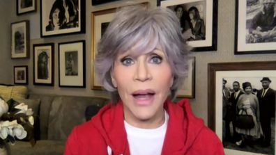Jane Fonda shows off grey hair