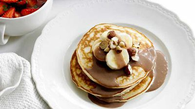 """Recipe:<a href=""""http://kitchen.nine.com.au/2016/05/16/19/26/pancakes-with-three-toppings"""" target=""""_top"""">Pancakes with three toppings</a>"""