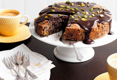 Dark chocolate, pear and pistachio cake