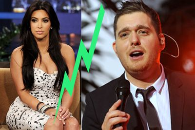 """When Michael Buble was performing in New York, he tricked fans into believing Kim Kardashian would be joining him for a duet, only to reveal it was all a joke.  """"Nah, just f---ing with you!"""" he said,  """"That b---h isn't coming on mystage!"""""""