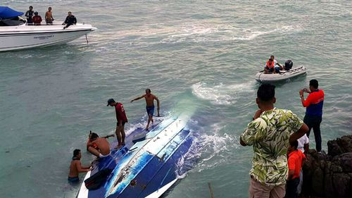 Two people died when the boat capsized at sea off the coast of Koh Samui resort island. (EPA via AAP)
