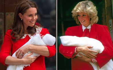 Princess Diana and Kate Middleton Duchess of Cambridge style moments - Prince Louis's birth, Prince Harry's birth