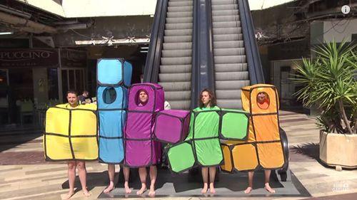 Gaillard recreates Tetris in the real-world. (YouTube)