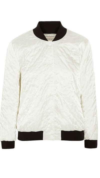 "<a href=""http://www.theoutnet.com/en-AU/product/Maison-Kitsune/Quilted-satin-bomber-jacket/575764"">Quilted Satin Bomber Jacket, $278, Maison Kitsune</a>"