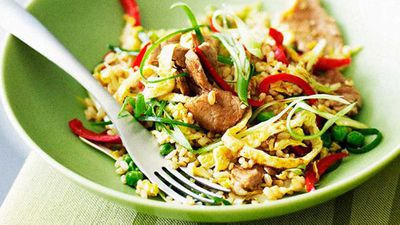 "Recipe:&nbsp;<a href=""http://kitchen.nine.com.au/2016/05/16/13/54/curried-fried-rice-with-pork-and-wom-bok"" target=""_top"">Curried fried rice with pork and wom bok</a>"