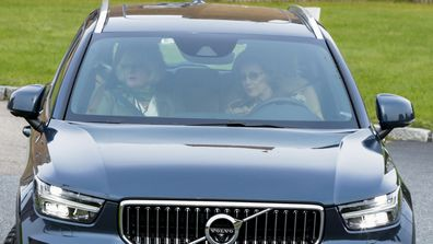 Norway's Queen Sonja leaves Rikshospitalet where King Harald has been admitted, in Oslo, Friday, Sept. 25, 2020