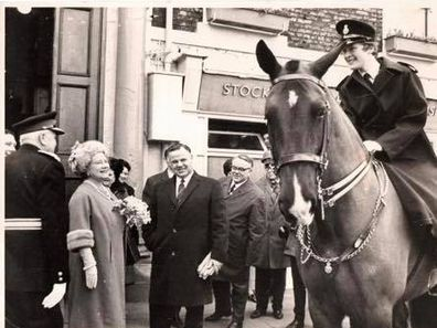 Mrs Meredith during her days as a mounted officer with the UK police.