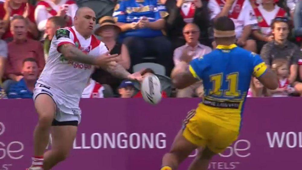 Dragons' Russell Packer's heavy hands help Parramatta score after 38 seconds