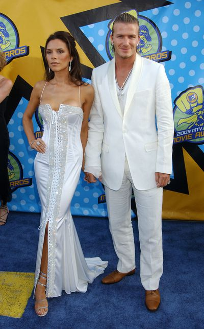 <p><strong>White Out</strong></p> <p>David Beckham & Victoria Beckham at the The Shrine Auditorium in Los Angeles, May 31, 2003.</p>