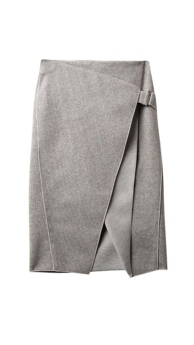"<a href=""http://www.matchesfashion.com/products/209395"" target=""_blank"">Envelope-Fold Stripe Skirt, approx. $696, Dion Lee</a>"