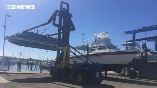 Marine Rescue retrieved the pontoon from the water. (9NEWS)