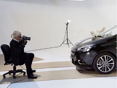 Choupette being photographed by her owner Karl Lagerfeld