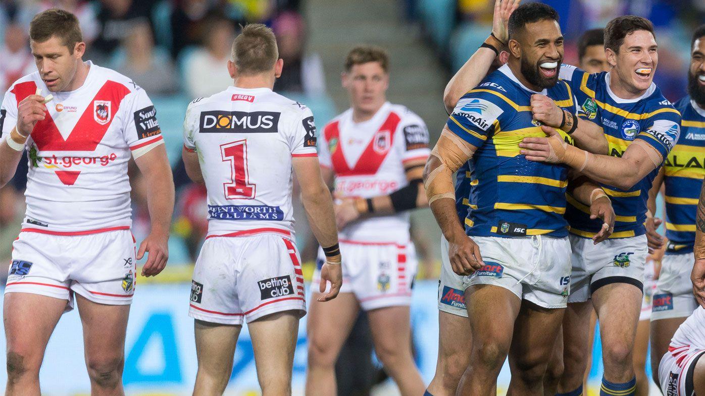 St George Illawarra captain Gareth Widdop hurt as Dragons suffer shock loss to Parramatta Eels
