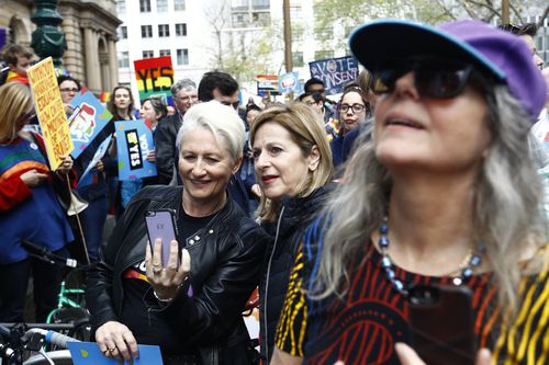 """""""Yes"""" campaigner Dr Kerryn Phelps is seen at a rally in support for marriage equality in Sydney. (AAP)"""