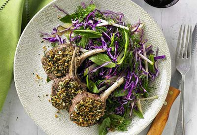 Monday: Herb crusted lamb cutlets with red cabbage