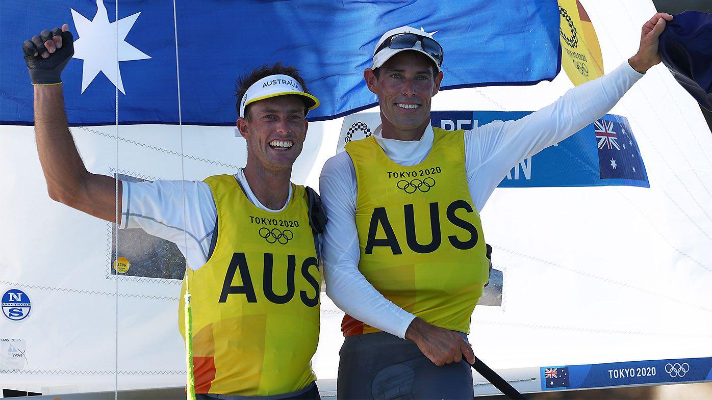 Australian duo Mathew Belcher and Will Ryan win gold in men's 470 sailing class at Tokyo Olympics