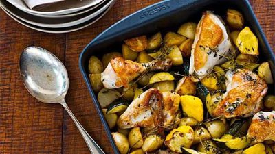 """Recipe:<a href=""""http://kitchen.nine.com.au/2016/05/16/18/00/lemon-thyme-roasted-chicken-with-autumn-veg"""" target=""""_top"""">Lemon thyme roasted chicken with zucchini and pumpkin<br /> </a>"""