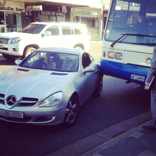 A bus driver and Mercedes have an unfortunate collision in Double Bay.