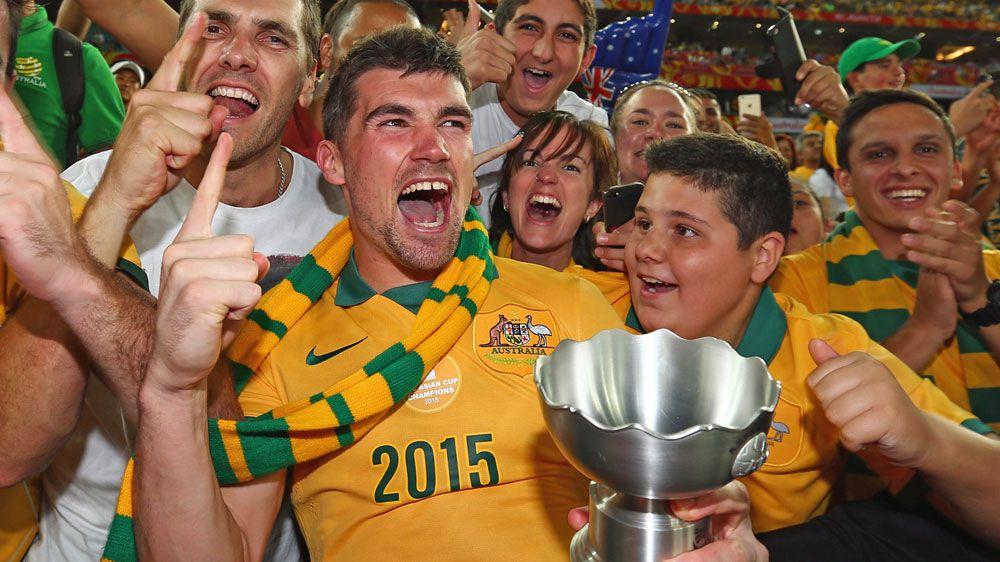 Mat Ryan celebrates Australia's Asian Cup triumph. (Getty)