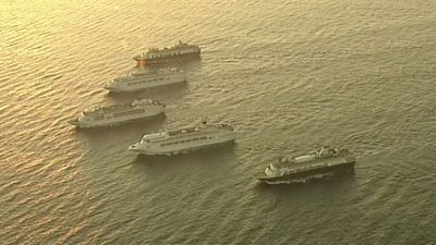 <p>The Pacific Dawn, Pacific Jewel and Pacific Pearl are joined by the two new members of the fleet: the Pacific Aria and the Pacific Eden. (9NEWS)</p>