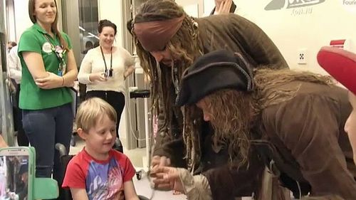 Depp spent time with seven-year-old Max Bennett. (9NEWS)