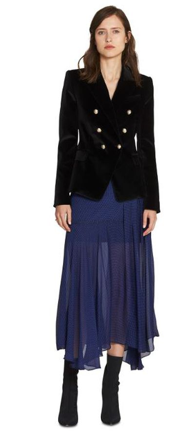 "<a href=""https://www.camillaandmarc.com/velvet-dimmer-black.html"" target=""_blank"">Camilla and Marc Velvet Dimmer Blazer, $750</a>"